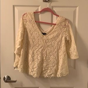 Lace 3/4 Length Sleeve Top - American Eagle - M
